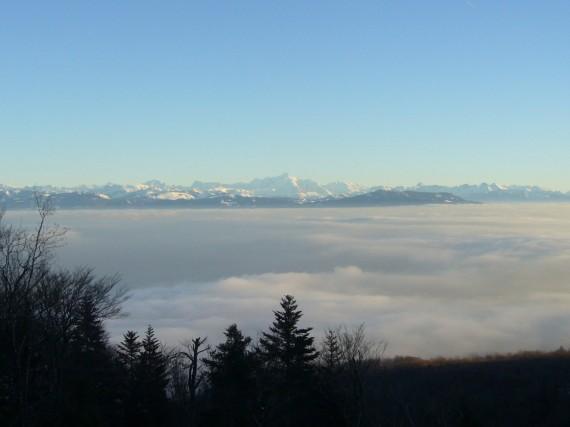Vue sur les Alpes depuis Saint-Cergues 01