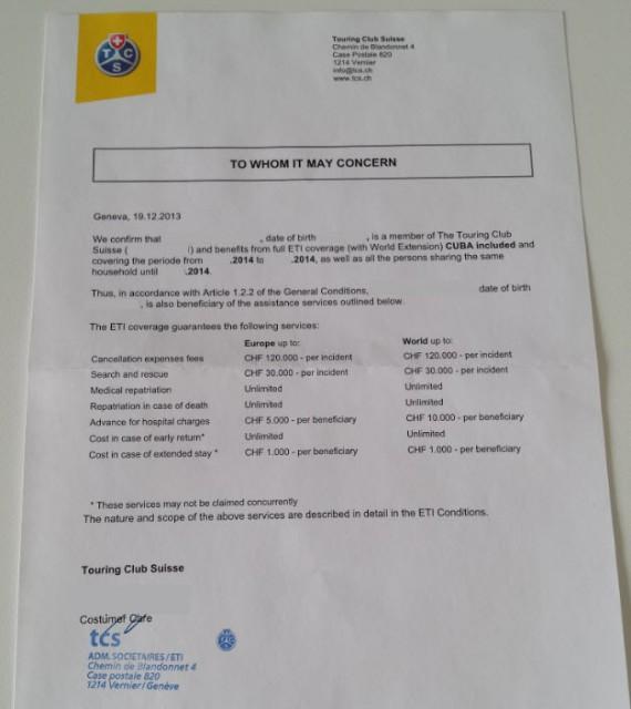 Certificat assurance Cuba
