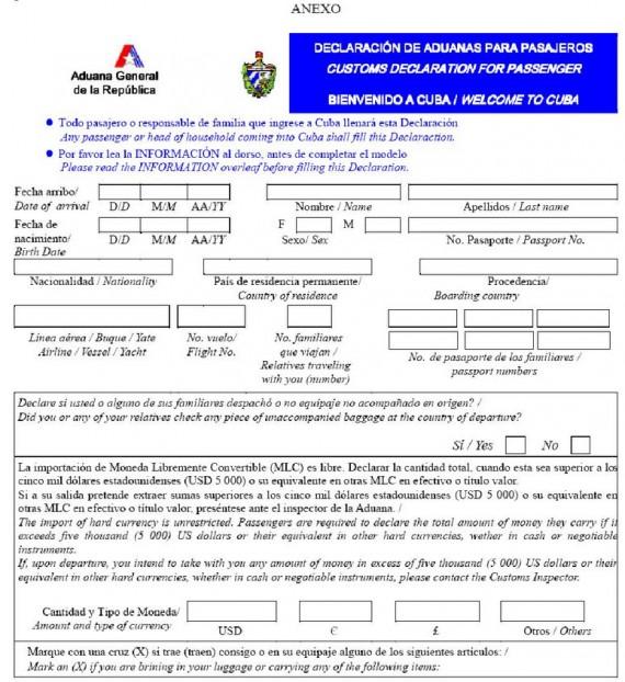 Déclaration douane Cuba 01