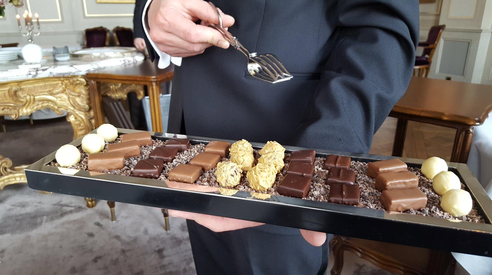Chocolat sur un plateau