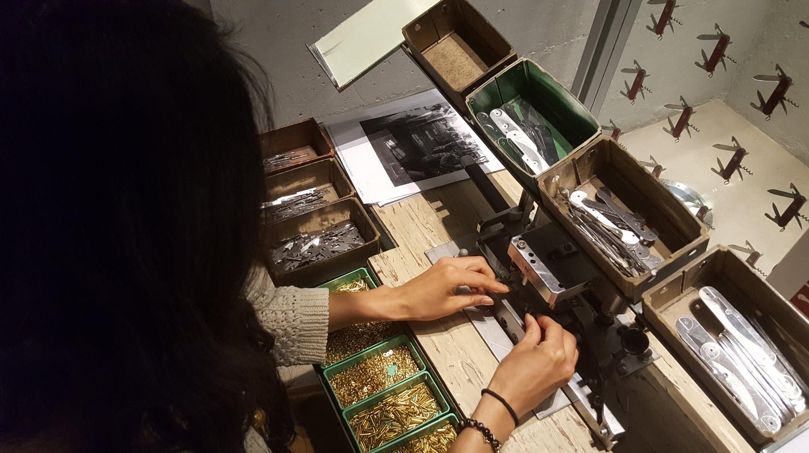 Montage de couteau en cours