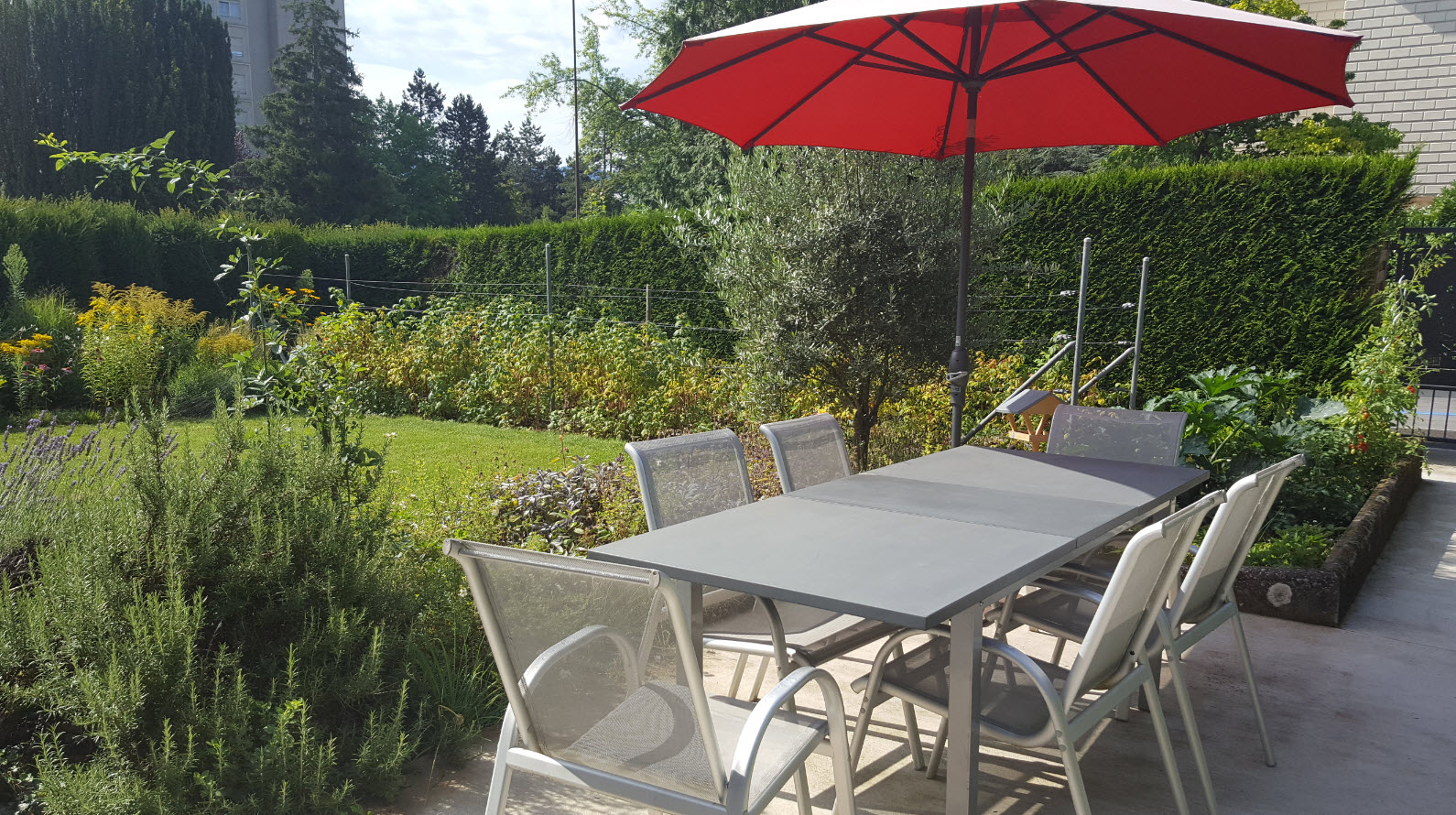 Grande table dans le jardin