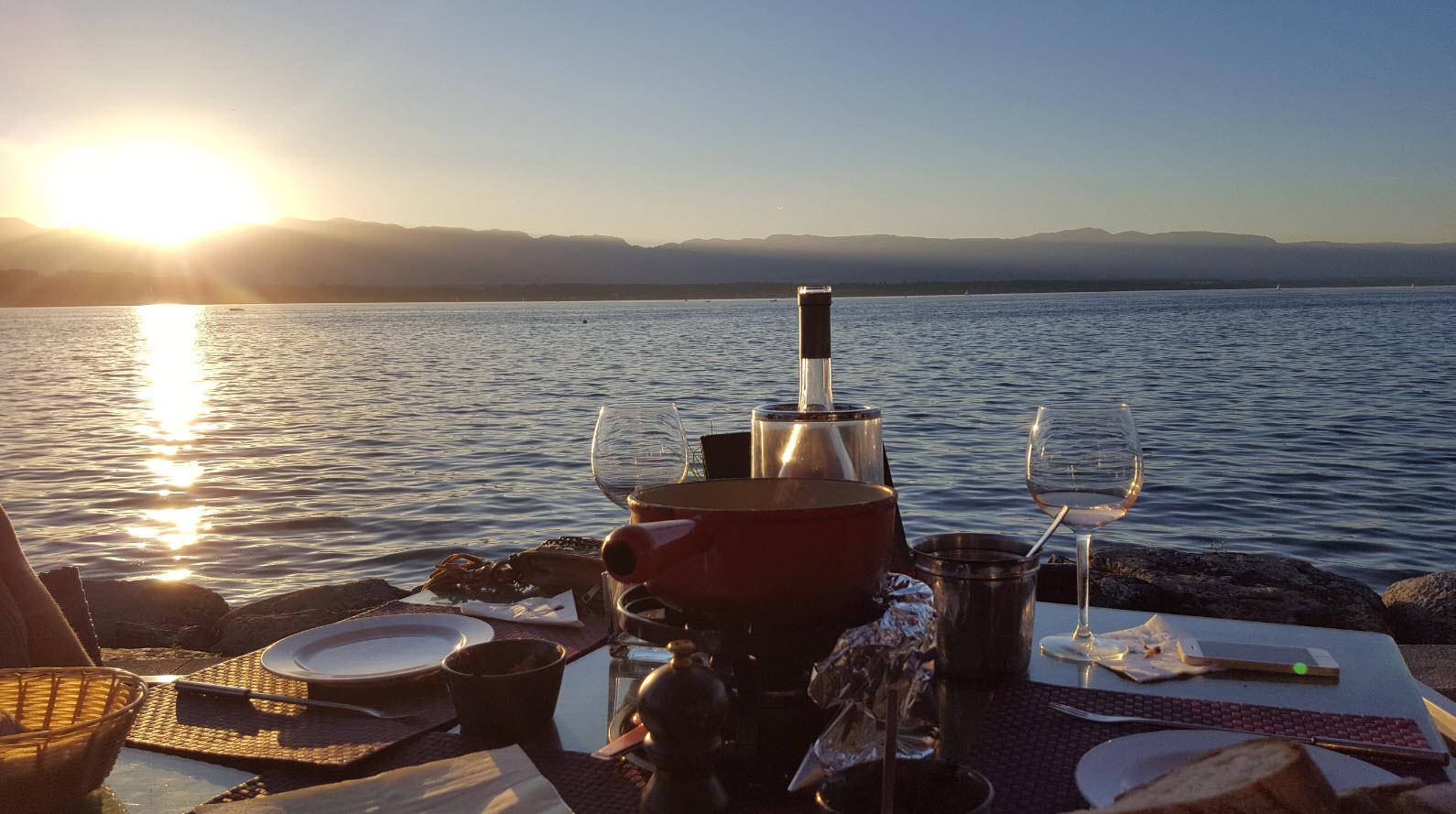 Perfect setting pour une fondue a Geneve