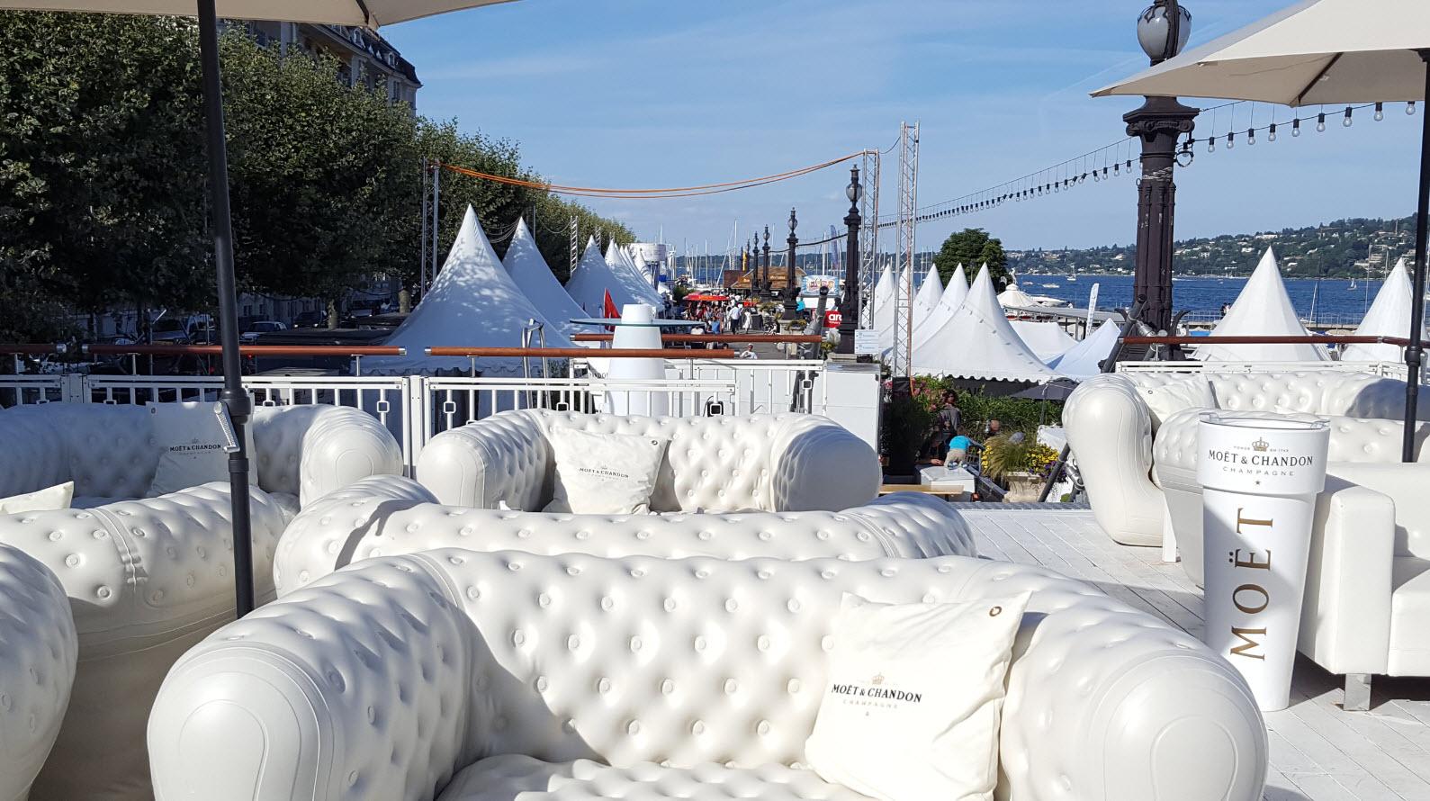 Terrasse hotel Kempinski Geneve pendant les fetes