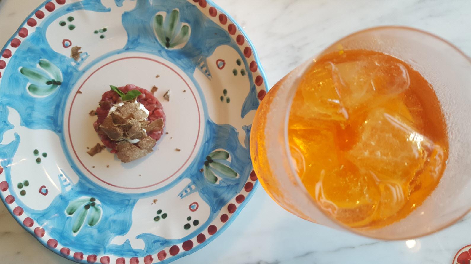 Tartare de boeuf a la truffe et Spritz