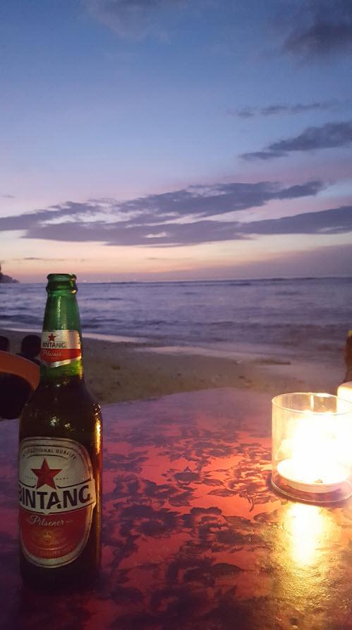 Biere au coucher du soleil