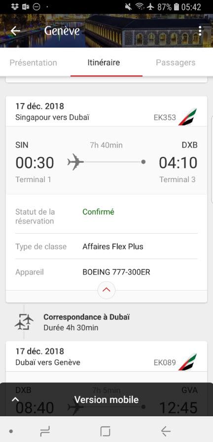 Appli mobile Emirates iphone