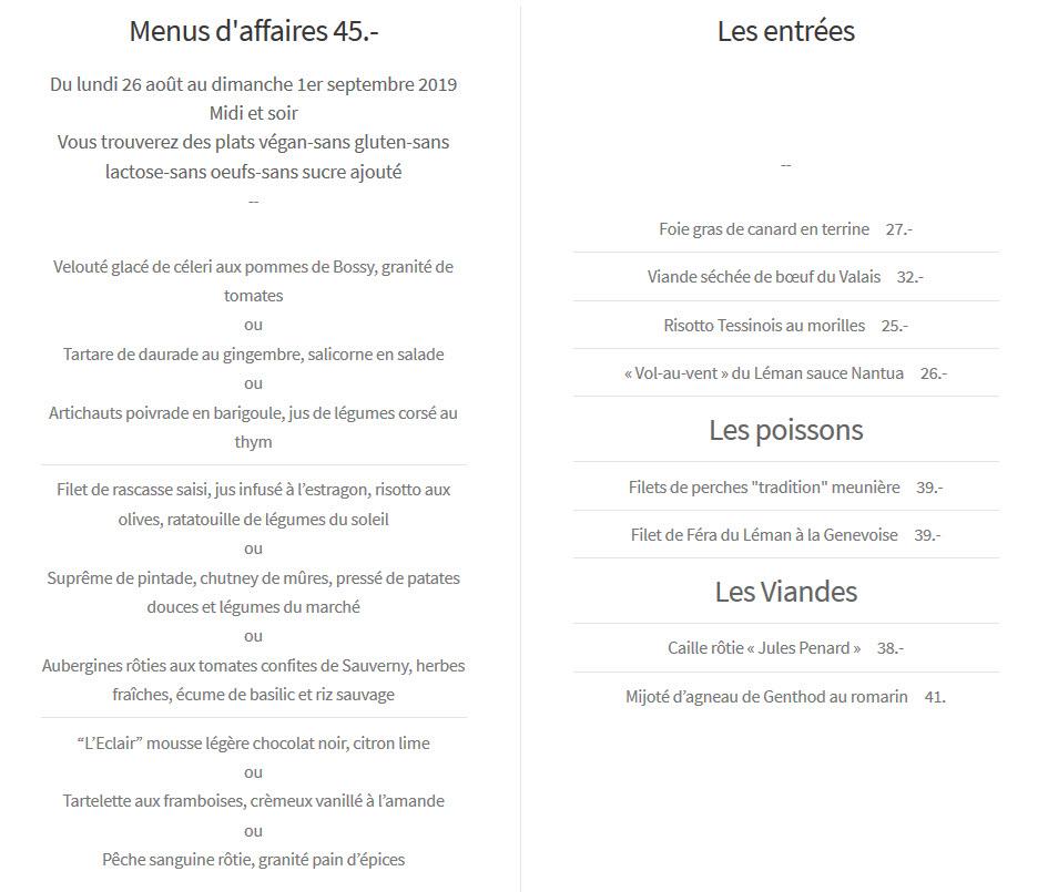 Creux Genthod menu